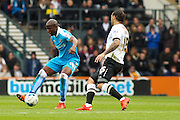 Wolverhampton Wanderers striker Benik Afobe wins the ball during the Sky Bet Championship match between Derby County and Wolverhampton Wanderers at the iPro Stadium, Derby, England on 18 October 2015. Photo by Aaron Lupton.