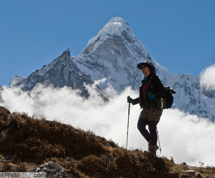 The north face of Ama Dablam (6856 meters / 22,495 feet elevation), in the Khumbu District of Nepal. Sagarmatha National Park was created in 1976 and honored as a UNESCO World Heritage Site in 1979. For licensing options, please inquire.