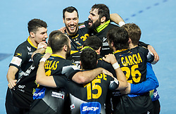 Players of Spain celebrate after winning during handball match between National teams of Spain and Sweden on Day 6 in Preliminary Round of Men's EHF EURO 2016, on January 20, 2016 in Centennial Hall, Wroclaw, Poland. Photo by Vid Ponikvar / Sportida