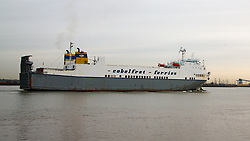 © Licensed to London News Pictures. 23/10/2019. Gravesend, UK. Stock photo (dated Mar 27, 2015) of the ro-ro cargo ship Clementine which docked at Purfleet about 00:30 on 23rd October 2019 after sailing from Zeebrugge. Photo credit : Rob Powell/LNP