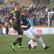 Dundee's Jim McAlister and Alloa Athletic's James Michael Doyle - Alloa Athletic v Dundee, SPFL Championship at Recreation Park, Alloa<br /> <br />  - &copy; David Young - www.davidyoungphoto.co.uk - email: davidyoungphoto@gmail.com