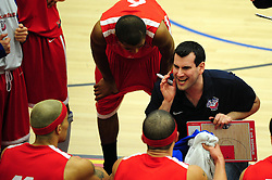 Bristol Academy Flyers' head coach, Andreas Kapoulas gives instructions to his team - Photo mandatory by-line: Dougie Allward/JMP - Tel: Mobile: 07966 386802 23/03/2013 - SPORT - Basketball - WISE Basketball Arena - SGS College - Bristol -  Bristol Academy Flyers V Essex Leopards