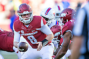 FAYETTEVILLE, AR - SEPTEMBER 3:  Austin Allen #8 of the Arkansas Razorbacks turns to make a hand off during a game against the Louisiana Tech Bulldogs at Razorback Stadium on September 3, 2016 in Fayetteville, Arkansas.  The Razorbacks defeated the Bulldogs 21-20.  (Photo by Wesley Hitt/Getty Images) *** Local Caption *** Austin Allen