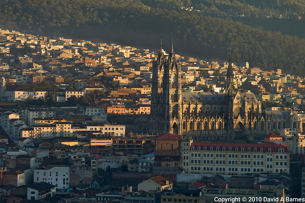 Basilica at sunrise, Quito, Ecuador
