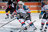 KELOWNA, CANADA -FEBRUARY 25: Carter Rigby #11 of the Kelowna Rockets skates against the Prince George Cougars on February 25, 2014 at Prospera Place in Kelowna, British Columbia, Canada.   (Photo by Marissa Baecker/Getty Images)  *** Local Caption *** Carter Rigby;