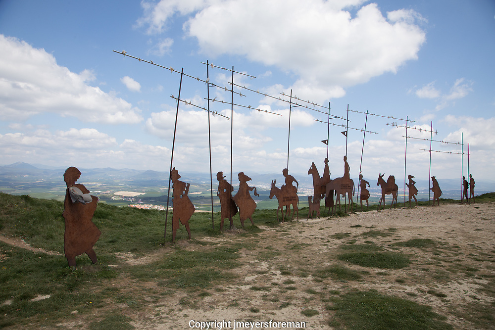 Alto del Perdon, known as the Hill of Forgiveness,  the pilgrim statues are located at the top of the hill, 10km from Pamplona . The descent from the hill toward Uterga is steep and rocky.