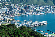 View over Wellington Bay, with marina in foreground and business district and hills in background, Wellington, New Zealand