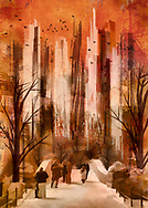 Cityscape showing a bridge with stylized people leading into a park with bare trees against a dominating background of soaring stylized skyscrapers all kept in a warm fall palette of vivid orange, brown and beige tones