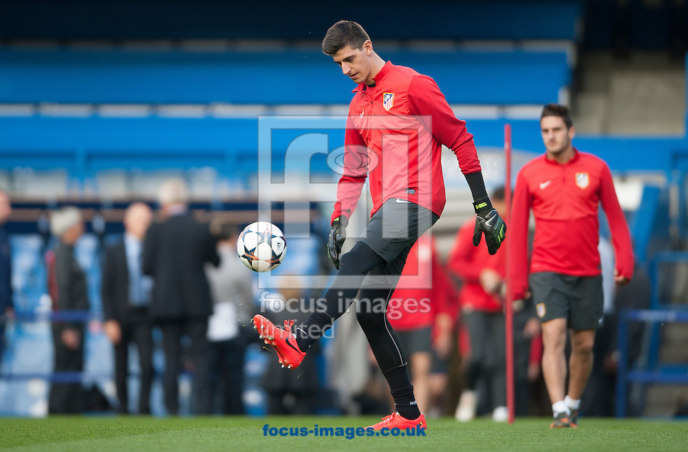 Atletico Madrid's goal keeper Thibaut Courtois during training at Stamford Bridge, London ahead of their UEFA Champions League semi final second leg against Chelsea.<br /> Picture by Daniel Hambury/Focus Images Ltd +44 7813 022858<br /> 29/04/2014