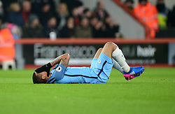Gabriel Jesus of Manchester City lies on the floor with his hands over his face. - Mandatory by-line: Alex James/JMP - 13/02/2017 - FOOTBALL - Vitality Stadium - Bournemouth, England - Bournemouth v Manchester City - Premier League