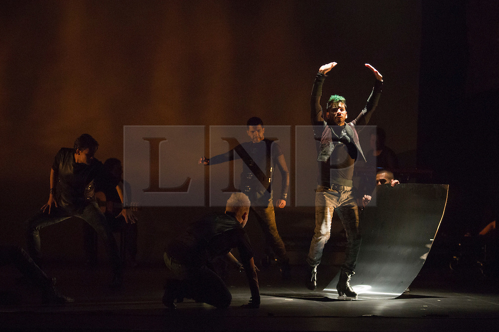 © Licensed to London News Pictures. 05/05/2015. London, England. Carlos Rodriguez at the centre. UK Premiere of Titanium, a show fusing Flamenco, Breakdance and Hip Hop choreographed by Rojas and Rodriguez of Nuevo Ballet Espanol, opens at the Peacock Theatre, London. Running from 5-23 May 2015. Dancers: Angel Rojas, Carlos Rodriguez, Cristian Garcia Ballesteros, Iker Karrera, Fran Eliu, Sergio Melantuche, Elhiu Vazquez, Omar Fraile and Juan Pablo Trejo. Photo credit: Bettina Strenske/LNP