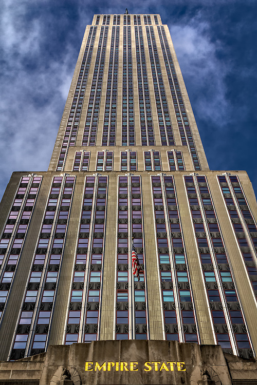 Looking up at the Empire State Building in New York City on a warm Fall afternoon.