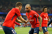 Paris Saint Germain's French defender Layvin Kurzawa warms up before the French championship L1 football match between Paris Saint-Germain (PSG) and Saint-Etienne (ASSE), on August 25, 2017 at the Parc des Princes in Paris, France - Photo Benjamin Cremel / ProSportsImages / DPPI