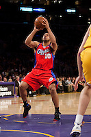 15 January 2010: Guard Eric Gordon of the Los Angeles Clippers shoots the ball against the Los Angeles Lakers during the first half of the Lakers 126-86 victory over the Clippers at the STAPLES Center in Los Angeles, CA.