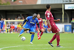 Wimbledon's Adebayo Akinfenwa frustrated at Referee Darren Handley - photo mandatory by-line David Purday JMP- Tel: Mobile 07966 386802 - 30/08/14 - Afc Wimbledon v Stevenage - SPORT - FOOTBALL - Sky Bet Leauge 2 - London - The Cherry Red Stadium
