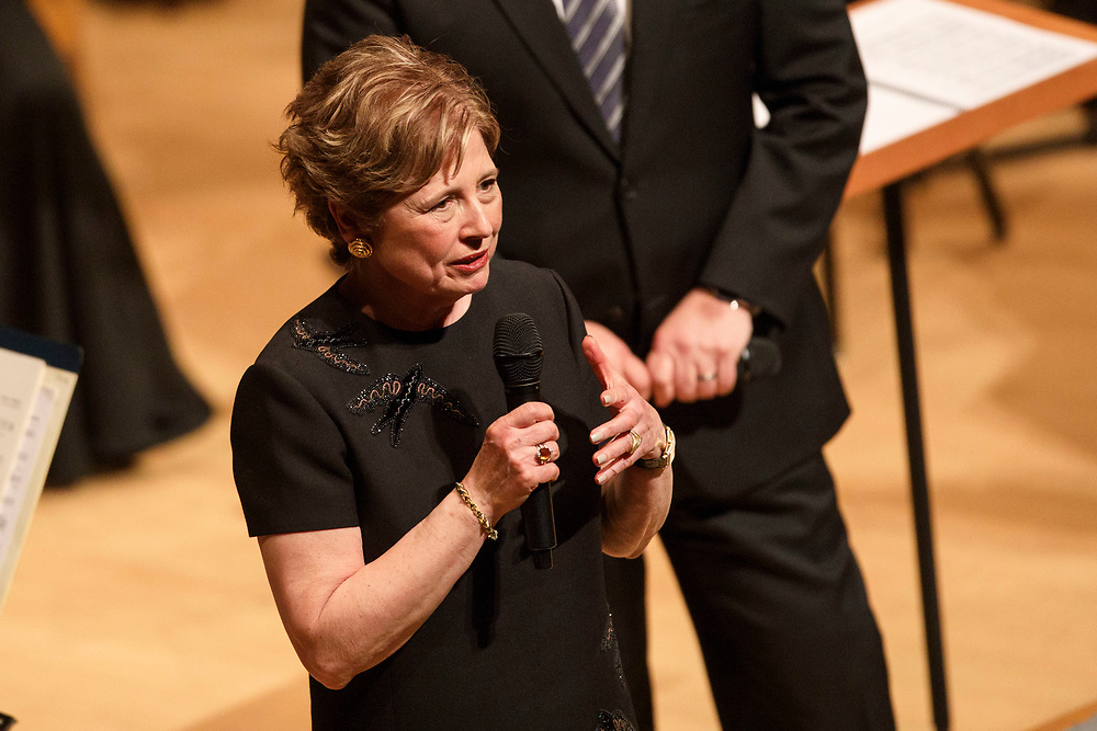 Outgoing LA Phil president Deborah Borda is honored during the LA Philharmonic performance at the Walt Disney Concert Hall on Thursday, May 18, 2017 in Los Angeles, Calif. The evening's performance featured Gustavo Dudamel's Schubert symphony as well as a tribute to outgoing president Deborah Borda, followed by a solo vocal from mezzo-soprano Sasha Cooke. © 2017 Patrick T. Fallon
