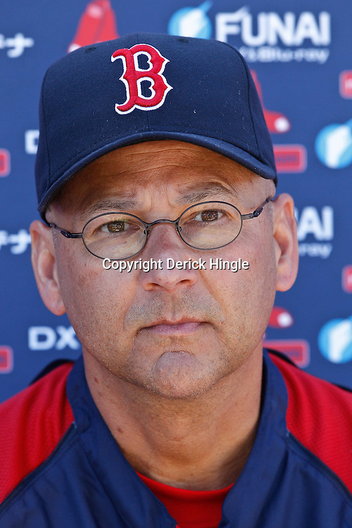 February 19, 2011; Fort Myers, FL, USA; Boston Red Sox manager Terry Francona talks with the media following a spring training practice at the Player Development Complex.  Mandatory Credit: Derick E. Hingle