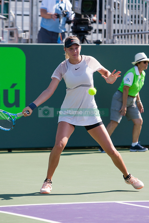 March 20, 2018 - Key Biscayne, FL, U.S. - KEY BISCAYNE, FL - MARCH 20: Amanda Anisimova (USA) competes during the qualifying round of the 2018 Miami Open on March 20, 2018, at Tennis Center at Crandon Park in Key Biscayne, FL. (Photo by Aaron Gilbert/Icon Sportswire) (Credit Image: © Aaron Gilbert/Icon SMI via ZUMA Press)