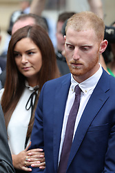 England cricketer Ben Stokes and his wife Clare leaving Bristol Crown Court where he has been found not guilty of affray following a brawl hours after England played the West Indies in a one-day international in the city in September last year.