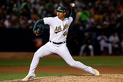 OAKLAND, CA - SEPTEMBER 21: Jesus Luzardo #44 of the Oakland Athletics pitches against the Texas Rangers during the seventh inning at the RingCentral Coliseum on September 21, 2019 in Oakland, California. The Oakland Athletics defeated the Texas Rangers 12-3. (Photo by Jason O. Watson/Getty Images) *** Local Caption *** Jesus Luzardo