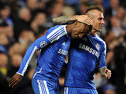19.10.2011, Stamford Bridge Stadion, London, ENG, UEFA CL, Gruppe E, Chelsea FC (ENG) vs Racing Genk (BEL), im Bild Chelsea's Salomon Kalou is congratulated by team-mate Raul Meireles after scoring his side's fifth goal // during UEFA Champions League group E match between Chelsea FC (ENG) and Racing Genk (BEL) at Stamford Bridge Stadium, London, United Kingdom on 19/10/2011. EXPA Pictures © 2011, PhotoCredit: EXPA/ Propaganda Photo/ Chris Brunskill +++++ ATTENTION - OUT OF ENGLAND/GBR+++++