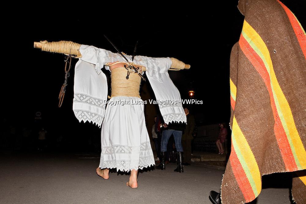 `Empalaos´ (impaleds), Holy Week in Valverde de la Vera. Empalao and companion (family).Caceres province, Extremadura, Spain