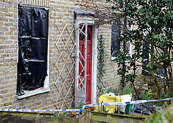 © under license to London News Pictures. 2011.02.22.  Windows are blacked out at the property. Police have launched a murder investigation today (Tues) after the battered body of an 86-year-old woman was found at her home in South East London. Officers were called to an address in Oakridge Road, Downham, Bromley, on Sunday evening amid concerns over the welfare of a resident. Picture credit should read Grant Falvey/LNP