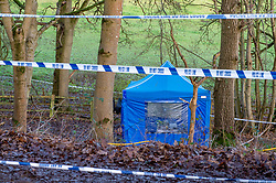 "© Licensed to London News Pictures. 11/12/2019. Gerrards Cross, UK. A tent sits inside a cordon at the scene in Gerrards Cross, Buckinghamshire as the Metropolitan Police Service continue to search woodland. Police have been in the area conducting operations since Thursday 5th December 2019. In a press statement issued on 7th December, a Metropolitan Police spokesperson said ""Officers are currently in the Gerrards Cross area of Buckinghamshire as part of an ongoing investigation.<br /> ""We are not prepared to discuss further for operational reasons."" Photo credit: Peter Manning/LNP"