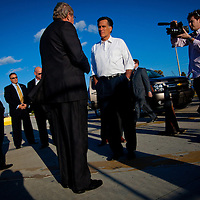 TAMPA, FL -- November 29, 2011 -- Republican Presidential candidate Gov. Mitt Romney greets officials - including port Director and CEO Richard Wainio - before speaking at the Port of Tampa during a campaign stop in Tampa, Fla., on Tuesday, November 29, 2011. (PHOTO / CHIP LITHERLAND)