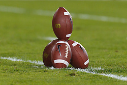 Nov 19, 2011; Stanford CA, USA;  Detailed view of a pile of footballs on the field before the game between the Stanford Cardinal and the California Golden Bears at Stanford Stadium.  Stanford defeated California 31-28. Mandatory Credit: Jason O. Watson-US PRESSWIRE