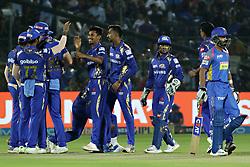 April 22, 2018 - Jaipur, Rajasthan, India - Mumbai Indians player celebrates the wicket during the IPL T20 match against  Rajasthan Royals  at Sawai Mansingh Stadium in Jaipur on 22 April,2018.(Photo By Vishal Bhatnagar/NurPhoto) (Credit Image: © Vishal Bhatnagar/NurPhoto via ZUMA Press)