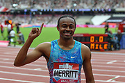 Aries Merritt of the United States of America wins the Men's 110m Hurdles Final during the Muller Anniversary Games at the London Stadium, London, England on 9 July 2017. Photo by Martin Cole.