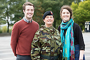 Lt Col  Mary Carroll with her Children Conor and Alanna Henry. Lt Col  Mary Carroll is leading the 54th Infantry group and is the first woman to hold this appointment and has responsibility for 454 soldiers , Barracks, Training and operations conducted Also first woman to command an Irish Contingent deployed overseas at a ceremony at the Cathedral in Galway before deployment to the Golan Heights in Syria. Photo:Andrew Downes, XPOSURE