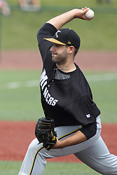 07 June 2015:  Pitcher John Tangherlini during a Frontier League Baseball game between the Southern Illinois Miners and the Normal CornBelters at Corn Crib Stadium on the campus of Heartland Community College in Normal Illinois