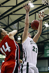 29 January 2011: Diana Jacklin gets a block on Olivia Lett during an NCAA Womens basketball game between the Carthage Reds and the Illinois Wesleyan Titans at Shirk Center in Bloomington Illinois.