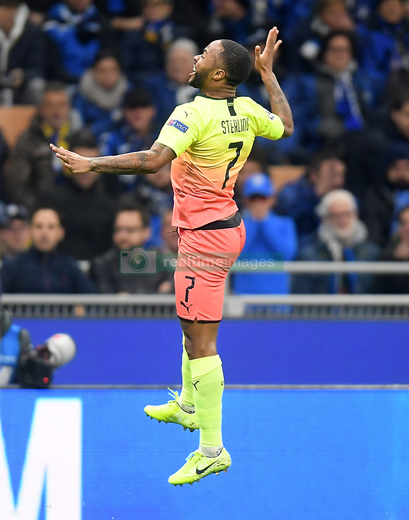 MILAN, Nov. 7, 2019  Manchester City's Raheem Sterling celebrates during the UEFA Champions League Group C football match between Atalanta and Manchester City in Milan, Italy, Nov. 6, 2019. (Photo by Alberto LingriaXinhua) (Credit Image: © Xinhua via ZUMA Wire)