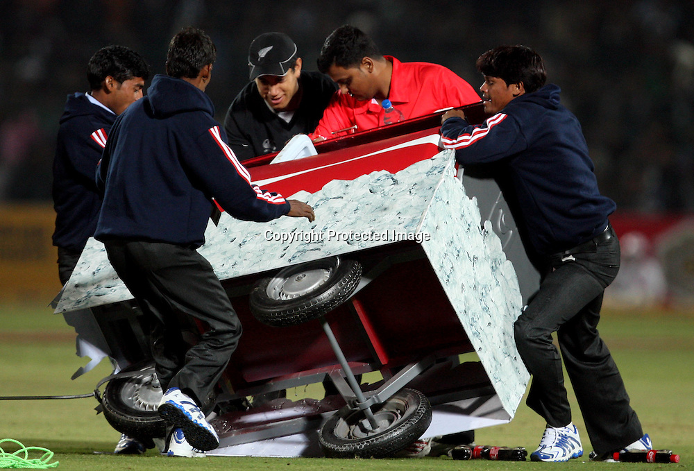 drink Trolly trun over during the 2nd ODI india vs New Zealand Played at Sawai Mansingh Stadium, Jaipur, 1 December 2010 - day/night (50-over match)