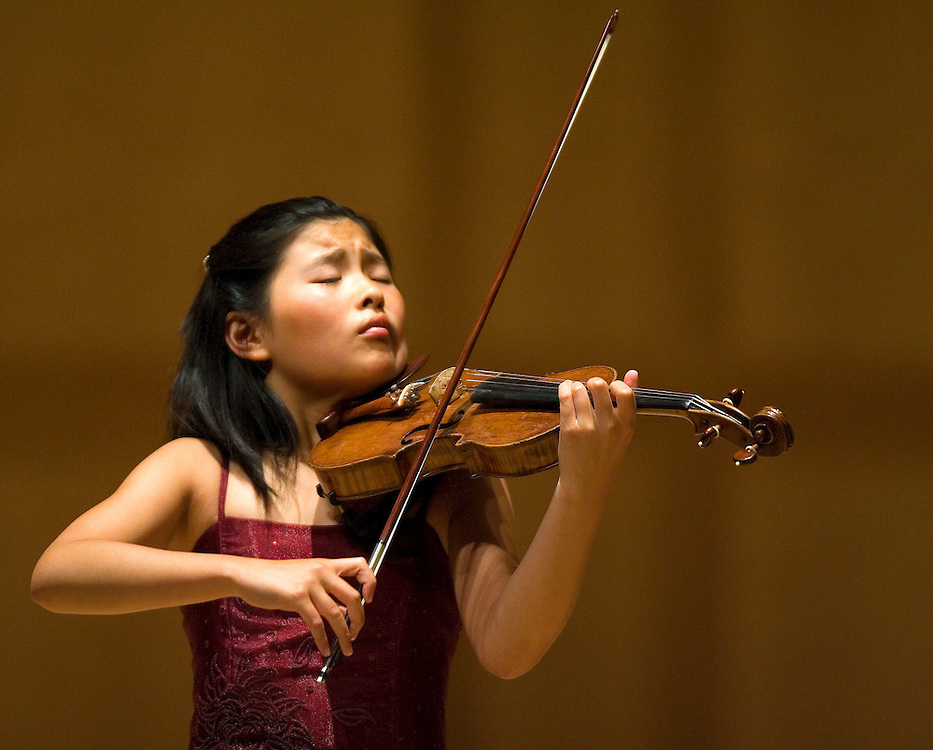 Violinist's  Mindy Chen, age 11 of California, youth winner, at the Stradivarius Violin Competition at Gardner Hall in Salt Lake City, Utah Thursday June 14, 2007.
