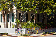 Colorful conch style bicycles  in Key West, Florida