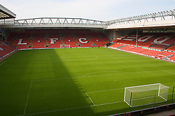 The view of the Anfield pitch from the Anfield Road Upper Stand, centre of Block 226.