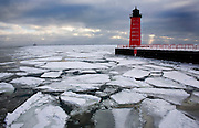 Ice forms in the Milwaukee Harbor on Lake Michigan.
