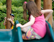 Evan Costik, 6, and his sister Sarah, 8, play in their family's backyard in Livonia, N.Y. on August 27, 2014.<br /> <br /> Evan has type 1 diabetes, and his father, John, modified a continuous glucose monitor and an Android smartphone to provide constant updates on Evan's blood sugar remotely. CREDIT: Mike Bradley for the Wall Street Journal<br /> MEDIHACK