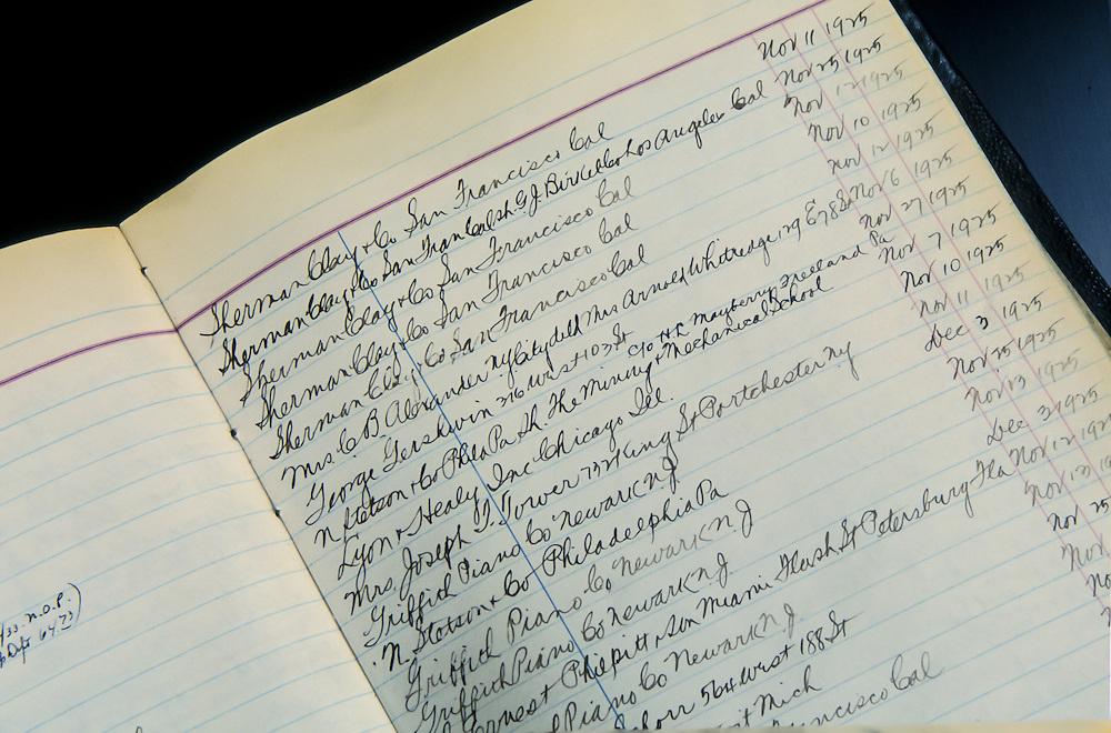 Entry in the original log books for George Gershwin's piano purchase in 1925, at the Steinway Piano factory, Astoria, Queens, New York.