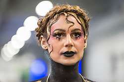 © Licensed to London News Pictures. 18/05/2019. LONDON, UK. A model midway through a creation at the International Make-Up Artists Trade Show (IMATS) taking place at Kensington Olympia 16 to 19 May 2019.  The show brings together make-up artists from around the world, including those with Hollywood movie backgrounds, providing classes in theatre, film, TV, fashion and editorial make-up to professionals and enthusiasts.  Photo credit: Stephen Chung/LNP
