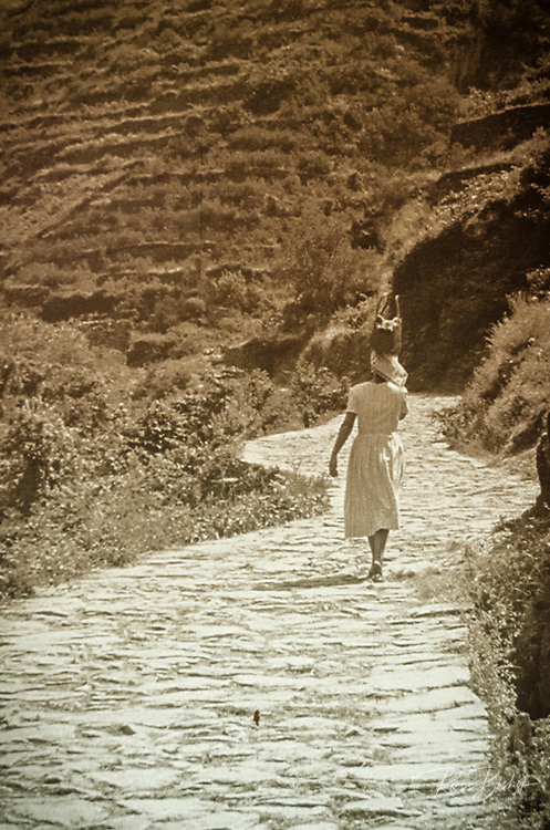 Historic photograph in Manarola, Cinque Terre, Liguria, Italy