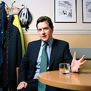 UK. London. MP George Osborne, the Conservative Shadow Chancellor of The Exchequer in his office in Westminster..Photos ©Steve Forrest