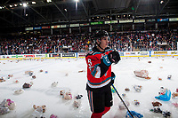 KELOWNA, CANADA - DECEMBER 2:  Cal Foote #25 of the Kelowna Rockets celebrates a goal that triggers the annual teddy bear toss against the Kootenay Ice on December 2, 2017 at Prospera Place in Kelowna, British Columbia, Canada.  (Photo by Marissa Baecker/Shoot the Breeze)  *** Local Caption ***