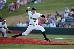 "1 June 2010: The first pitch in the Corn Crib is thrown by starter Tyler Lavigne. The Windy City Thunderbolts are the opponents for the first home game in the history of the Normal Cornbelters in the new stadium coined the ""Corn Crib"" built on the campus of Heartland Community College in Normal Illinois."