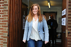 © Licensed to London News Pictures. 20/11/2014<br /> Conservative candidate Kelly Tolhurst walks to her local polling station Borstal Village Hall,Borstal,Wouldham Road,Kent. with her sister Katie,(mum) Christine and (dad) Morris.<br /> <br /> Rochester and Strood Parliamentary By-Election polling day, today (20.11.2014) in Kent.<br /> <br /> (Byline:Grant Falvey/LNP)