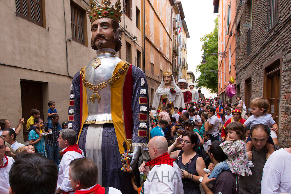 Costumed giant characters, Gigantes de Irunako Erraldoiak, during San Fermin Fiesta at Pamplona, Navarre, Northern Spain